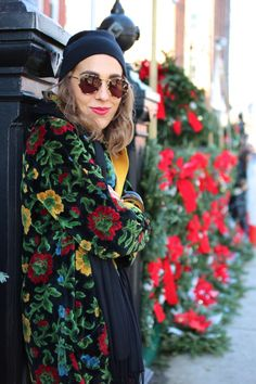 Bundled... Carpet coat, knit cap, vintage floral, outerwear, red lips, tortoise sunnies