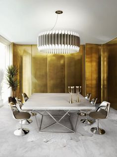 Need some mid-century modern fixture to your home décor ideas? The right dining room lighting fixture for your modern dining room decor! Luxury Dining Room, Dining Room Lighting, Dining Room Sets, Dining Room Design, Bedroom Lighting, Bedroom Chandeliers, Bedroom Decor, Dining Area, Chandeliers Modern