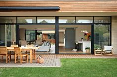 Bellarine Beach House - contemporary - Deck - Other Metro - Bower Architecture - This house looks amazing! I would love to see the layout and the flow. Indoor Outdoor Living, Outdoor Spaces, Outdoor Dining, Residential Architecture, Interior Architecture, Home Interior, Interior And Exterior, Exterior Design, Beach House