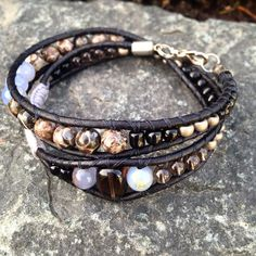 Double Wrap Bohemian Bracelet- Now listed- get 20% off NOW!   Authentic Gemstones: Jasper Smokey Quartz Cacholong  Handmade  Local Jewelry!  Available to purchase on Etsy at wanderlustwrists.etsy.com --> Link in bio  #bracelet #bracelets #handmade #handmadebracelet #handmadejewelry #local #etsy #wanderlust #travel #explore #victoria #leather  #travelbracelet #crystalproperties #healing #bohemian #jewelry #wrapbracelet #chanluu #christmasgift #stockingstuffers #jasper #cacholong #smokeyquartz…