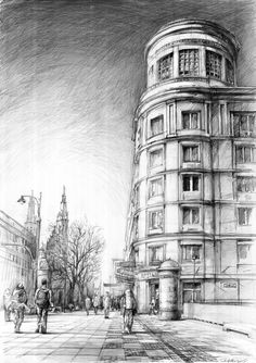 The stadtschloss, potsdam. Amazing Drawings, Realistic Drawings, Art Drawings Sketches, Pencil Drawings, Perspective Drawing Lessons, Perspective Art, Architecture Sketchbook, Architecture Art, City Drawing