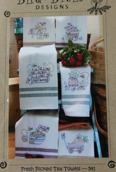Fresh Picked Tea Towel Hand Embroidery Pattern by agardenofroses, $9.00