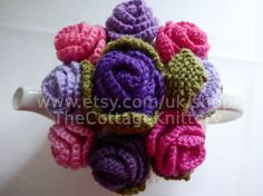 TEA COSY MEDIUM Hand Knitted Wool Rose by TheCottageKnittery