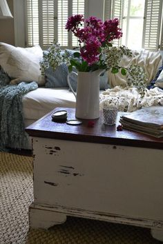Why am I not using the wood chest for a coffee table? Hmm, storage too.