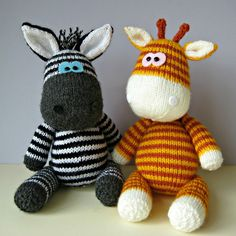 Gerry and Ziggy are best friends from the Sahara, and are looking for a new home. If you would like to adopt a zebra and giraffe, you can knit your own Ziggy and Gerry pals with this knitting pattern. Gerry is 34cm tall (from feet to top of horns when standing), and Ziggy is 33cm tall (from feet to tips of ears). The pattern includes row numbers for each step so you don't lose your place, instructions for making the zebra and giraffe, 19 photos, a list of abbreviations and explanation of…