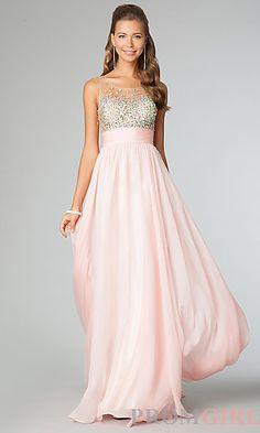 Floor Length Sleeveless Dress at PromGirl.com... Love this dress... I think it's modest yet flattering.