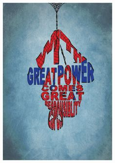 Spiderman Poster Minimalist Typography Poster by GeekSpeakPrints
