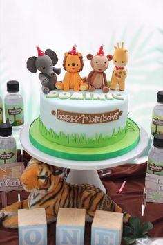"""Jungle Animal Cake from a """"King of the Jungle"""" Birthday Party on Kara's Party Ideas   KarasPartyIdeas.com (5)"""