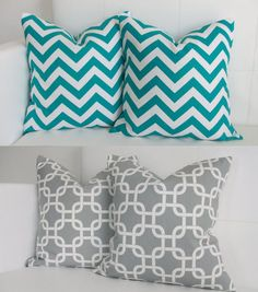Turquoise and Gray Chevron and Gotcha Decorative Throw Pillow Covers Set of Four Pillow Shams 16x16