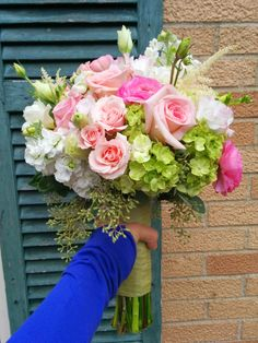 #PinkFlowers in #BridalBouquet featuring #GreenHydrangea #PinkRoses with #WhiteFlowers accenting.  Created by #LexingtonFloral in Shoreview, MN.  #MNWedding #MNFlorist #PinkWedding #SpringWedding