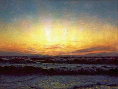 Laurits Tuxen (1853 - 1927)  The North Sea in stormy weather. After sunset. Højen, 1909