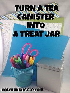 DIY tea cannister into a treat jar