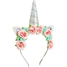 Hairband with Unicorn Horn $9.99 ($9.99) ❤ liked on Polyvore featuring accessories, hair accessories, unicorn headband, flower headbands, metal hair accessories, headband hair accessories and hair band headband