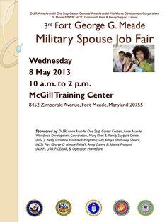 Civilian Jobs for Military Veterans Military Spouse Jobs, Military Veterans, Veteran Jobs, Fort Meade, Job Fair, Training Center, Career, Carrera