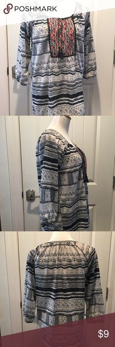 """Peasant Top Beautiful, comfortable, airy peasant top.  Navy and cream white print.  3/4 length sleeves. Gathered neckline and cuff with elastic.  Measurements laying flat:  Bust 19""""  Waist 21""""  Length shoulder to hem: 26.5 Tops Blouses"""