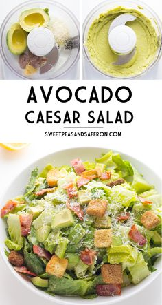 Avocado Caesar Salad- an egg-less and mayo free dressing that is creamy and delicious!  sweetpeasandsaffron.com @sweetpeasaffron