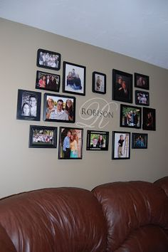 Robison Family Ramblings: Family Picture Wall - like this photo layout Room Wall Decor, Living Room Decor, Bedroom Wall, Family Pictures On Wall, Family Picture Walls, Wall Photos, Collage Pictures On Wall, Family Wall Collage, Hanging Pictures On The Wall