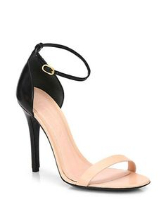 ALEXANDER MCQUEEN Bicolor Leather Ankle-Strap Sandals