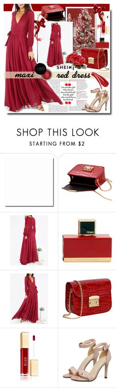 """""""Maxi Red Dress / SHEIN"""" by fashiondiary5 ❤ liked on Polyvore featuring Raz, Fendi, Concrete Minerals and shein"""