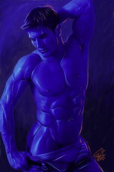 luz azul by elGuaricho on DeviantArt Gay Comics, Art Of Man, Fantasy Male, Man Images, Gay Art, Various Artists, Deviantart, Statue, Cartoon
