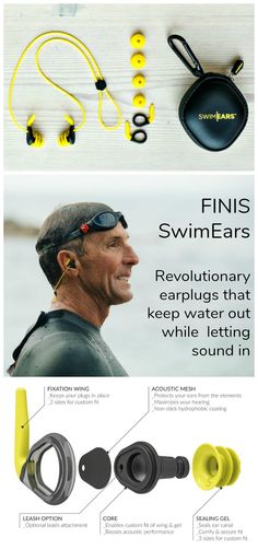 Finis SwimEars feature a revolutionary new design that let sound in while keeping water out. They outperform all other earplugs on the market.