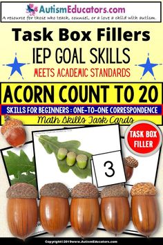 Count to 20 with acorns for one-to-one correspondence with an autumn theme! Real life pictures of acorns in various growth stages! Great for science, too!