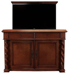 "Marin 2 door hidden TV lift cabinet Buffet. Designer grade Hidden TV lift cabinets are by ""Best of Houzz 2014"" for service, Cabinet Tronix.This Beautiful TV"