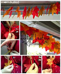 How to create a beautiful fall leaf garland.  Easy and Inexpensive way to dress up your autumn decorations!