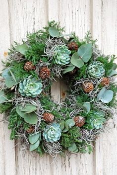 Moss and Eucalyptus and Sedum and Pine Cones Wreath :: White Ranunkler Solstice Hiver, Wreaths And Garlands, Fall Wreaths, Door Wreaths, Christmas Arrangements, Christmas Inspiration, Christmas Flowers, Christmas Door, Christmas Wreaths