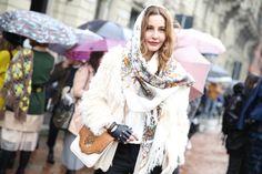 FW2014 Street looks, Milan Fashion Week, Fall Winter 2014-2015, Anja Rubik, Anna Dello Russo, Anya Ziourova, Joan Smalls