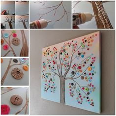 DIY Vibrant Button Tree on Canvas wall art tutorial #diy, #homedecor, #craft, #canvas, #button