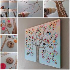 How to DIY Vibrant Button Tree on Canvas | www.FabArtDIY.com        #diy #tutorial #wall art #button craft               Follow us on Facebook ==> https://www.facebook.com/FabArtDIY