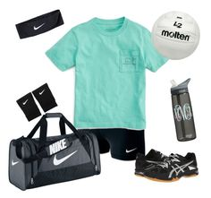 """""""Sunday: Volleyball practice"""" by preppy1girl ❤ liked on Polyvore featuring NIKE, Vineyard Vines and Asics"""