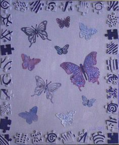 Diecuts, reused puzzle pieces, acrylic paints and mists. Butterfly Painting, Shrink Plastic, Puzzle Pieces, Reuse, Mists, Paper Art, Butterflies, Crafts, Papercraft
