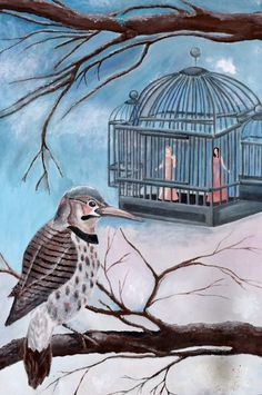 Northern Flicker ~. Anonymous Northern Flicker, Bad Art, Natural Selection, Anonymous, Thrifting, Oil On Canvas, Religion, Owl, Bird