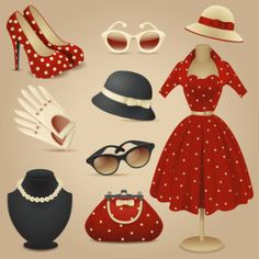 Lady retro fashion accessories