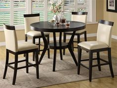 dark wood round counter height kitchen table and 4 chirs | counter height dining set