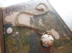 The Anne Necklace  Vintage Shamrock Flask by SeizeTheNight on Etsy, $35.00
