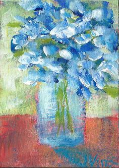 NFAC Flowers Abstract Still Life Original ACEO Acrylic Floral Painting ART small #Impressionism