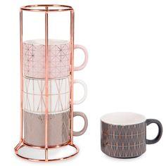 4 Kaffeetassenaus Steingut + ...