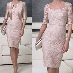61a54c96b7 Encontrar Más Vestidos para Madre de la Novia Información acerca de  Elegante festoneado cuello mujeres del