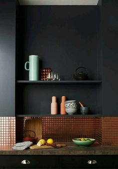 Copper with dark grey walls