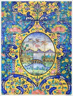 "thedailypersian: ""Tiles of the Golestan Palace - Tehran, Iran "" Tile Murals, Tile Art, Mosaic Tiles, Tile Painting, Islamic Tiles, Islamic Art, Architecture Unique, Paisley Art, Purple Carpet"