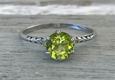 Edwardian Authentic Antique Peridot Vintage Filigree Sterling Silver Ring Size 6 by AdornedInHistory on Etsy