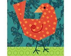 Birdie Bird quilt block paper pieced quilt by PieceByNumberQuilts Paper Pieced Quilt Patterns, Quilt Block Patterns, Pattern Blocks, Pattern Paper, Dog Quilts, Animal Quilts, Cat Quilt, Vogel Quilt, Bird Quilt Blocks