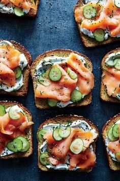 cucumber lox toast | this toast creation from Cooking Light incorporates Greek yogurt and chives as a base, layered with thinly sliced cucumbers and cold-smoked salmon. Keep this recipe in your arsenal for an easy and refreshing appetizer.