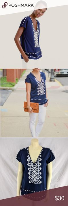 New J. Crew Eyelet V-neck t-shirt style F3883 NWOT New without tags J. Crew Eyelet v-neck T-shirt with white embroidery Style F3883 Size: SMALL Color: Navy blue and white 100% Cotton Hand wash  Bust: 42in Length: 25in  Thanks for stopping by J. Crew Tops Tees - Short Sleeve