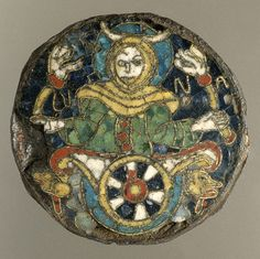 9th century Carolingian cloisonne plaque. Personification of the Moon [Southern France] (17.190.688) | Heilbrunn Timeline of Art History | The Metropolitan Museum of Art