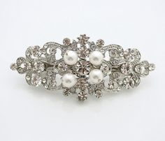 Wedding Hair Clip Wedding Barrette Rhinestone by poetryjewelry
