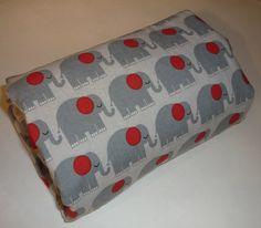 Elephant & Red Minky Stroller Blanket by Greenerbeginnings on Etsy, $34.00